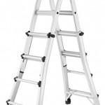 Hailo 7516-701 Alu-Multifunktions-Teleskopleiter MTL, 4x4 Sprossen - Verwendbar als Anlege- und Schiebeleiter, beidseitige Steh- und Treppenleiter